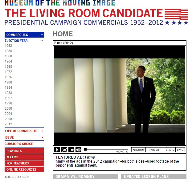 The Living Room Candidate A Great Resource For Media Literacy In