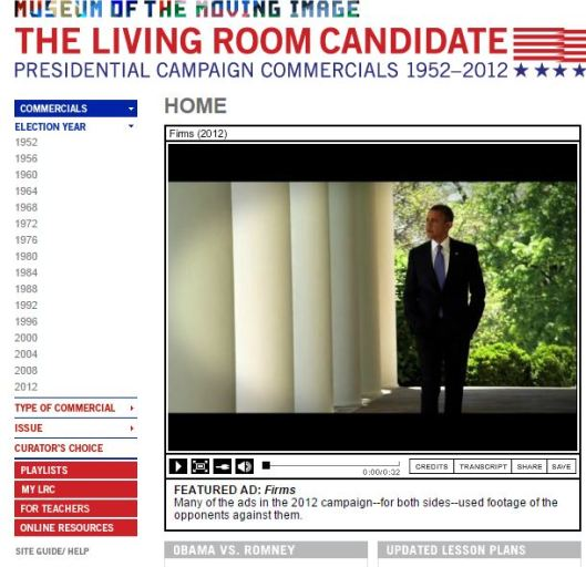 The Living Room Candidate, a great resource for media literacy in civics and the social studies!