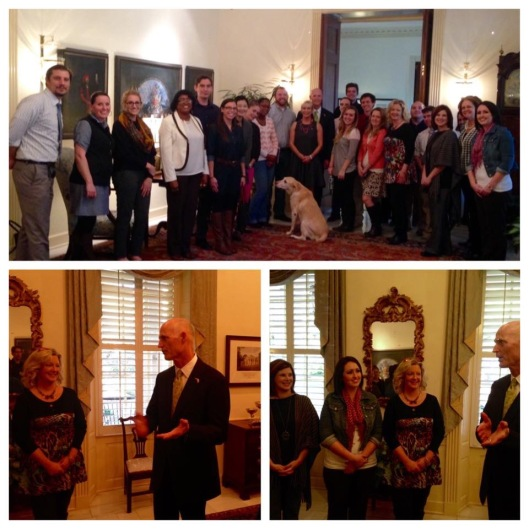 The governor of Florida, Rick Scott, meets with members of a middle school civics PLC in Tallahassee