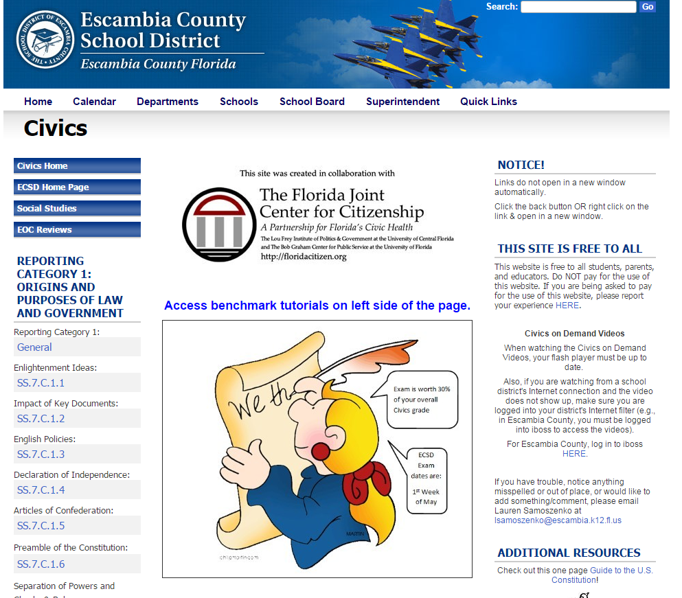 Escambia County Civics EOC Review Site