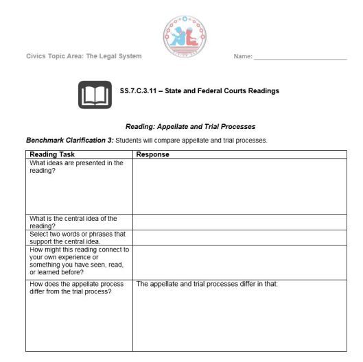EOC – Civics Worksheets